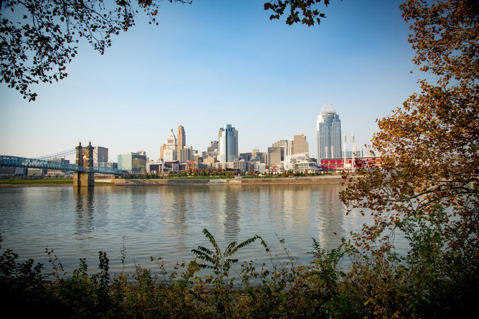 The Cincinnati skyline, as viewed across the Ohio river from northern Kentucky.