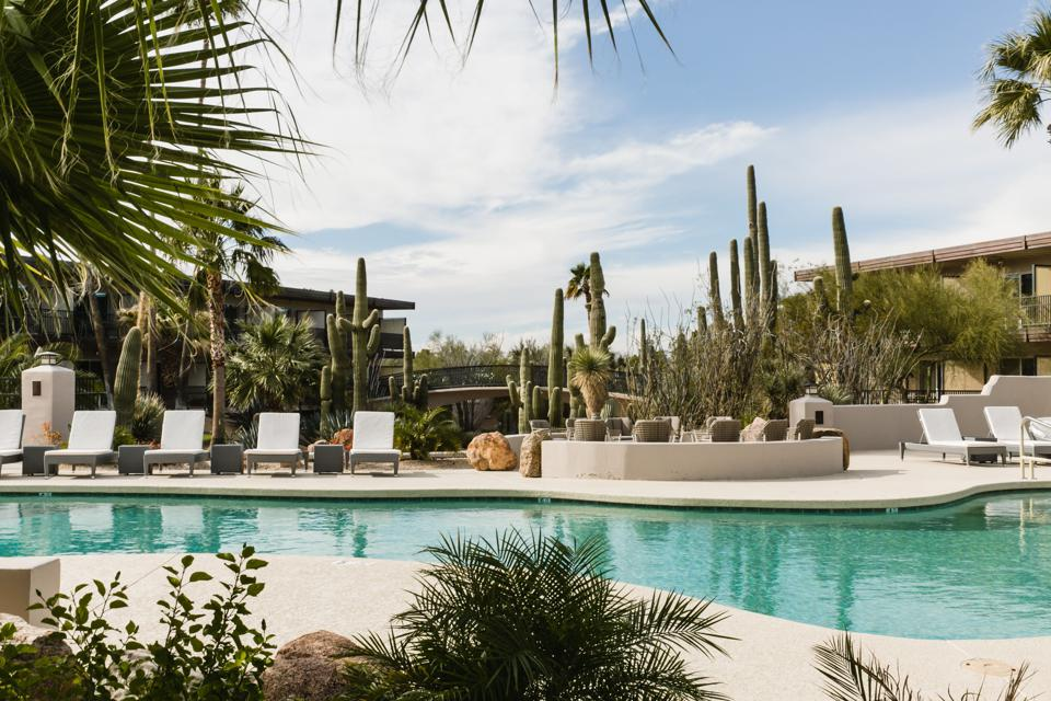 The CIVANA Spa is watched over by giant cactus and the Sonoran Mountain Range