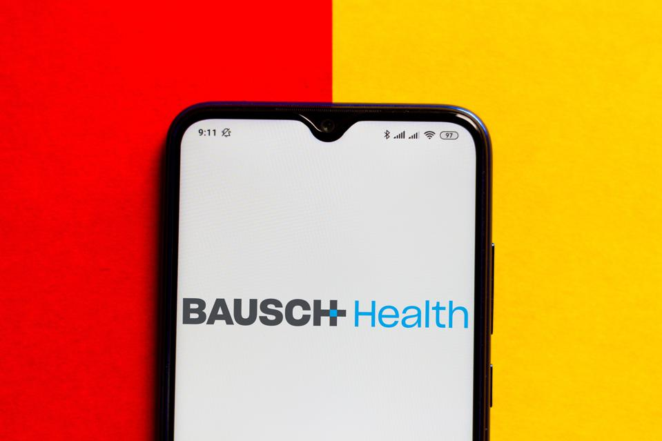 In this photo illustration the Bausch Health Companies logo...
