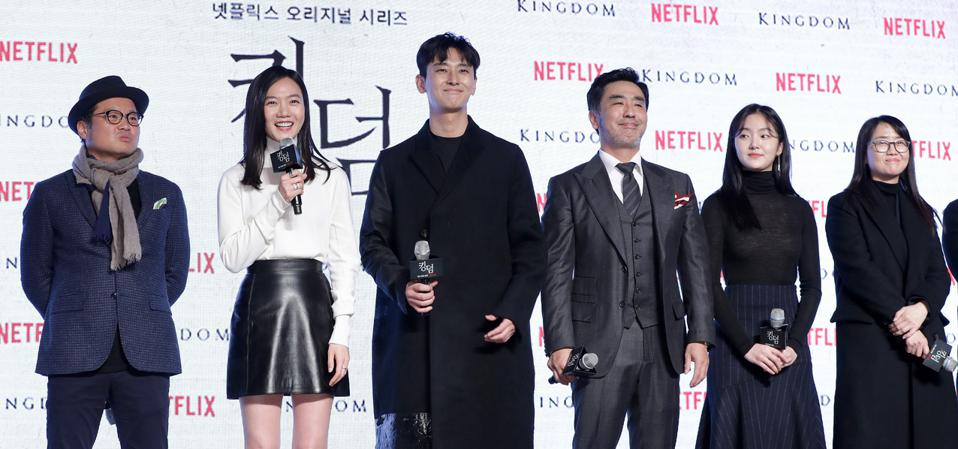 Cast members, director and writer from Netflix's major Korean hit 'Kingdom' attend the series' premiere in Seoul, South Korea in 2019. (Photo by Han Myung-Gu/WireImage)