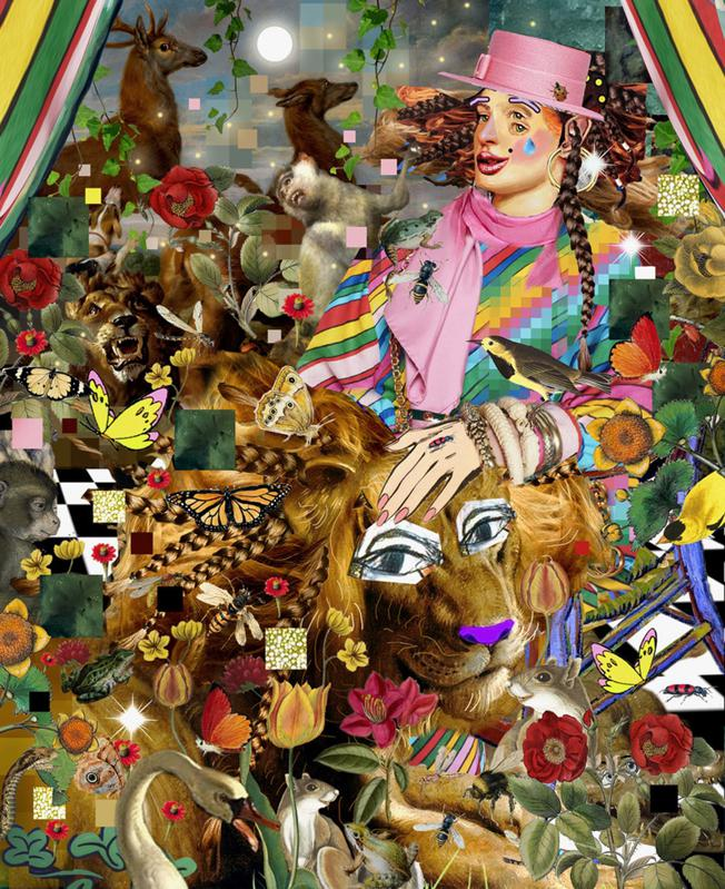 collage painting with lion and butterflies