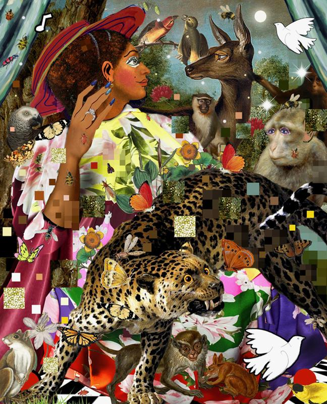 collage with woman monkey and cheetah