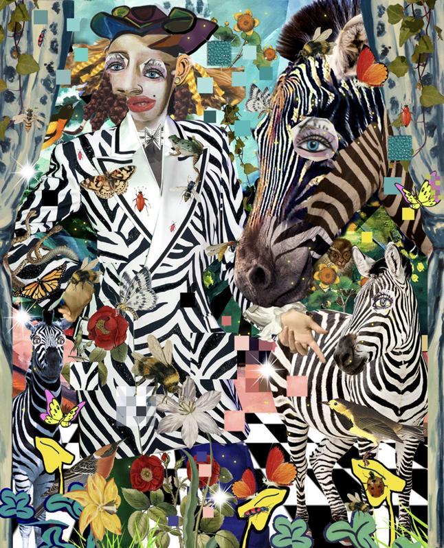 zebra with woman wearing zebra print