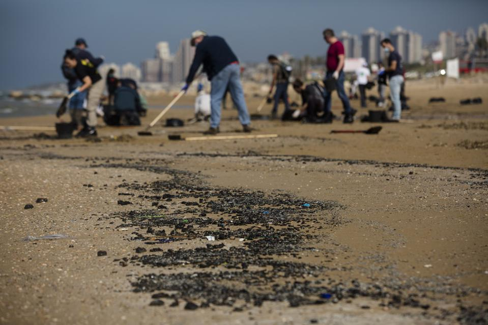 Cleanup Continues After Suspected Oil Spill Off Israel's Coast