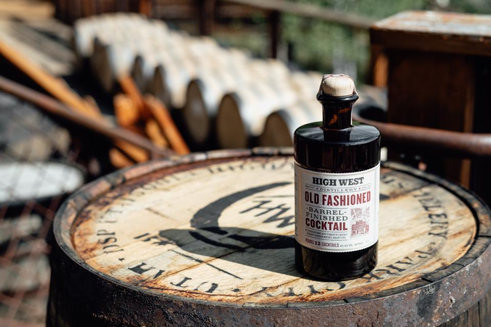 Bottle of High West Barrel-Finished Old Fashioned cocktail