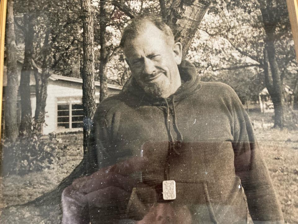 John Steinbeck outside his Sag Harbor home