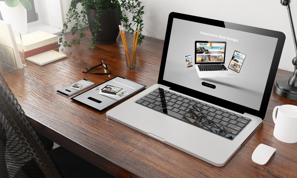 devices on wooden desktop