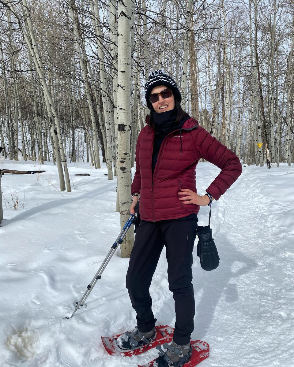 The only special gear you'd need for snowshoeing is snowshoes and poles! Everything else is your average wintertime kit.
