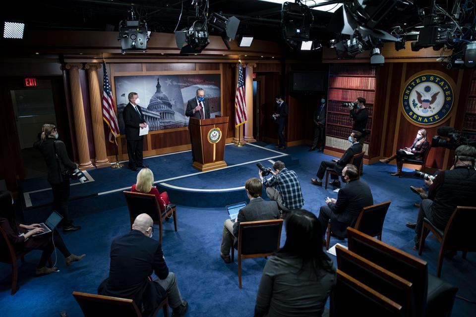 Democratic Senate Leadership Hold Media Availability On Capitol Hill