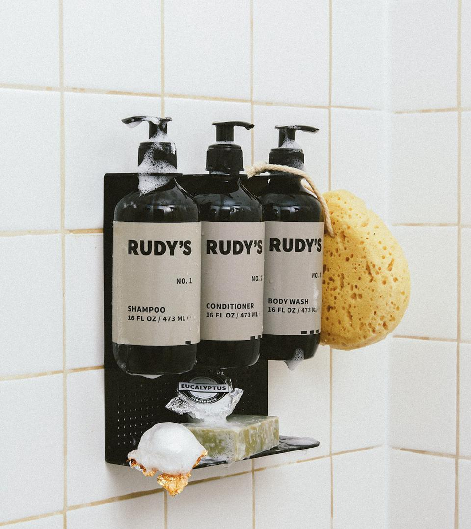 Rudy's 123 Shampoo, Conditioner, and Shampoo in its natural element