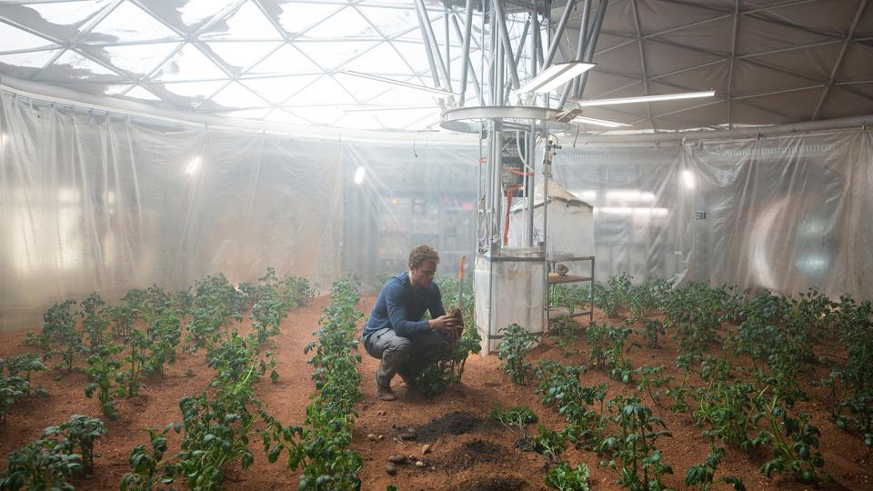 Matt Damon growing potatoes on Mars in the film The Martian.
