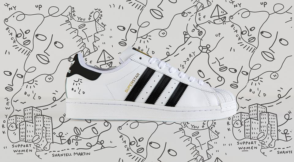 Adidas MakerLab activation sneaker in collaboration with Shantell Martin, visual artist.