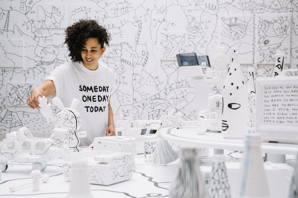 Shantell Martin, visual artist, at studio.
