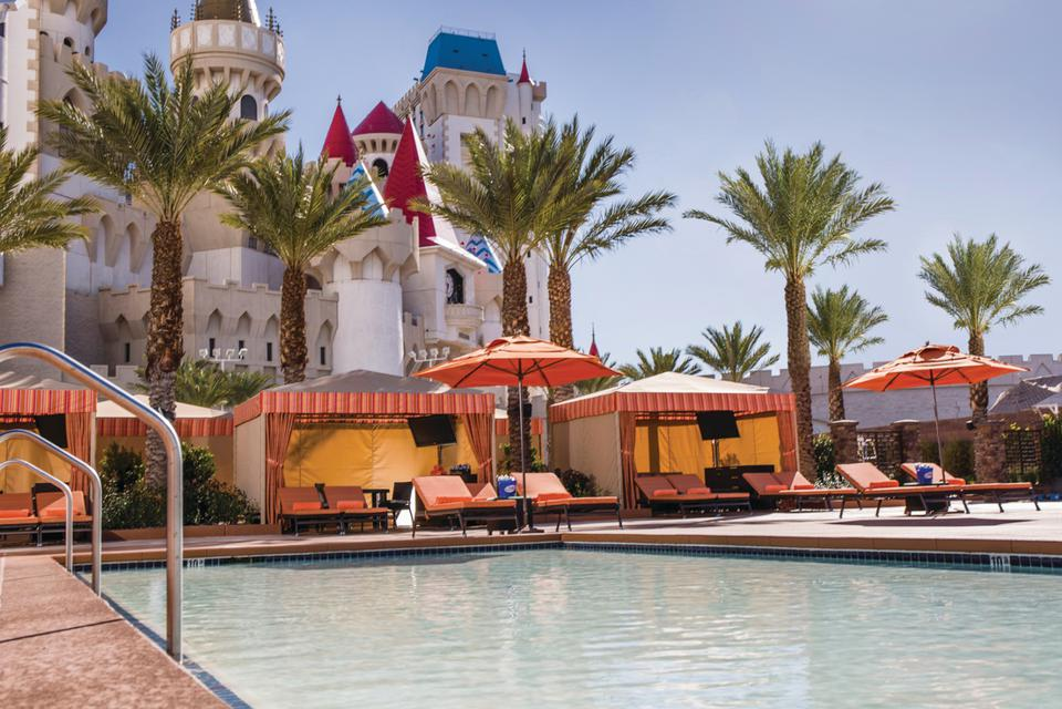 Excalibur pool and cabanas