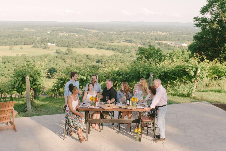 A group of friends enjoy wine on a vineyard patio overlooking rolling green countryside.