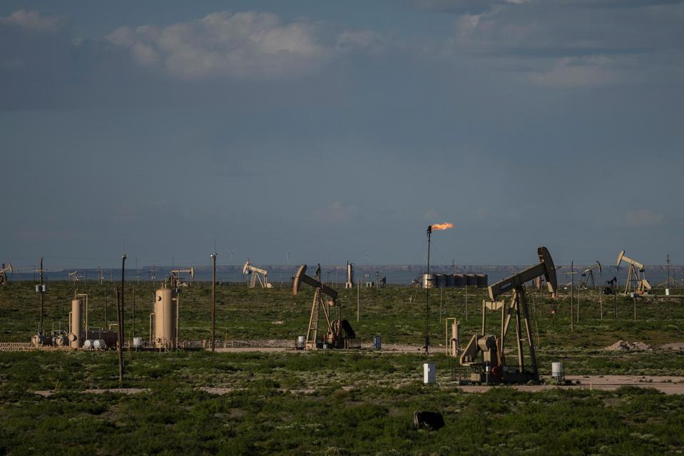 Pumpjacks pictured in New Mexico extracting crude oil.