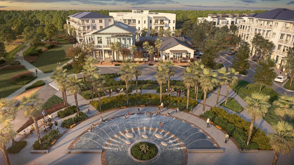 waterfront park and fountain daniel island luxury community charleston