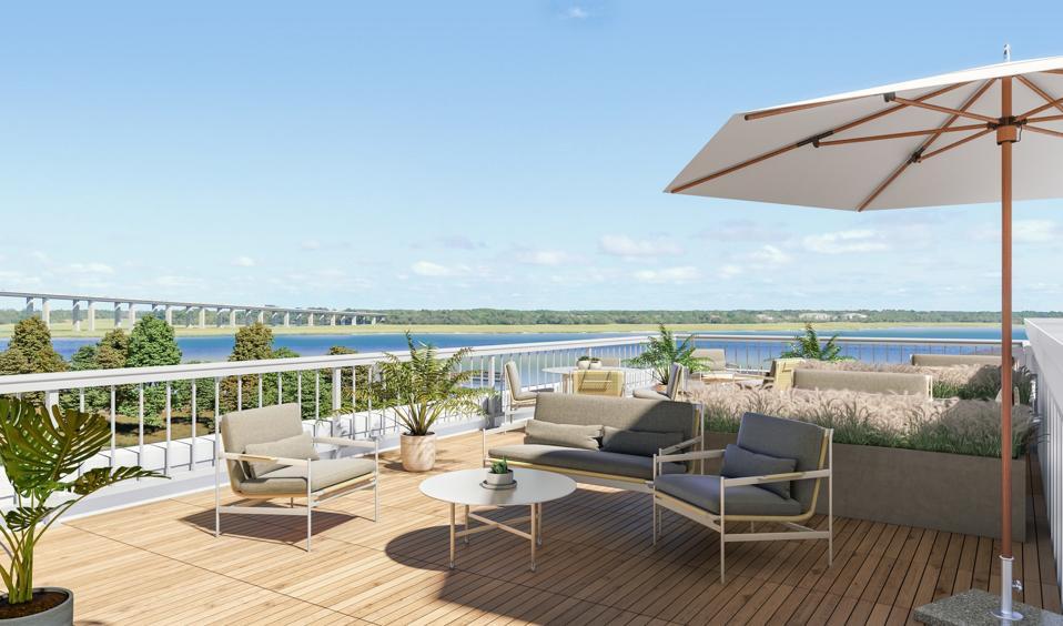 terrace overlooking waterfront daniel island charleston carolina