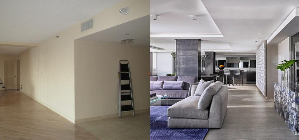 Before and after photos of a home renovation