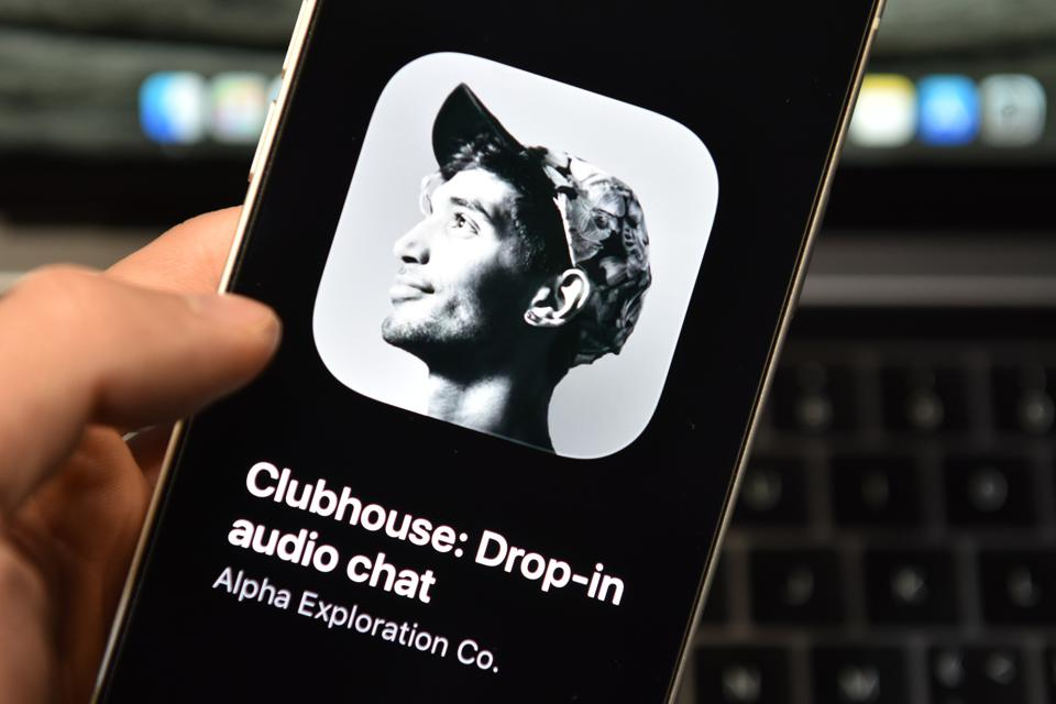 Clubhouse App logo on a smartphone...