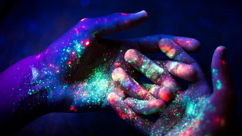 Abstract. Art. Hands. Ultraviolet. Particles. Universe.
