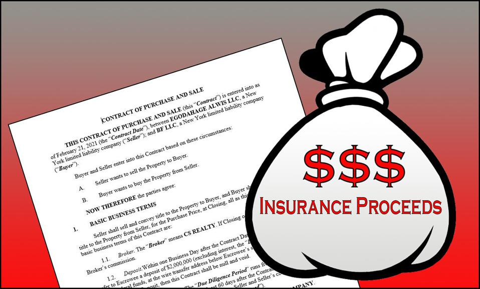 Contract to sell a property with a big of money next to it, marked insurance proceeds.