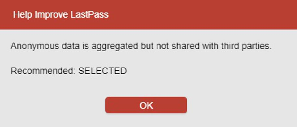 Information box showing why LastPass collects tracking data about usage