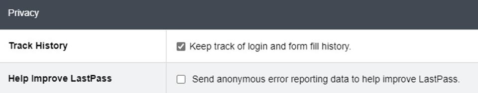 LastPass privacy settings options
