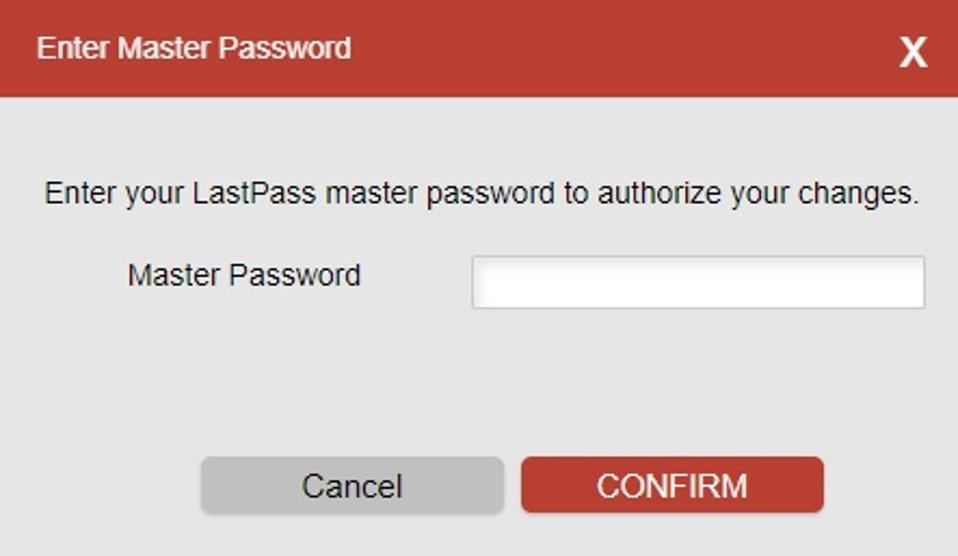 LastPass master password input box