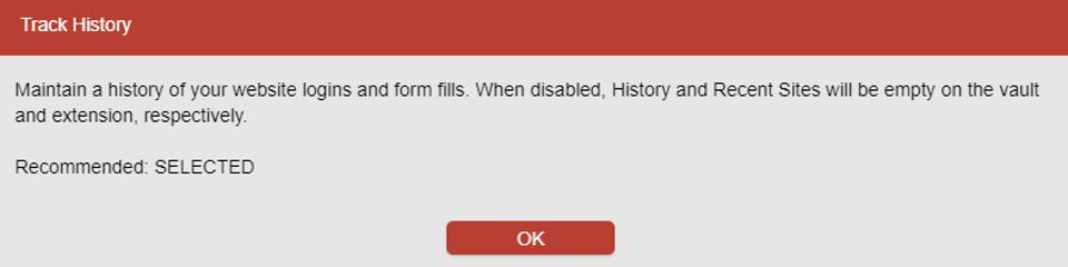 The LastPass 'Track History' information dialogue