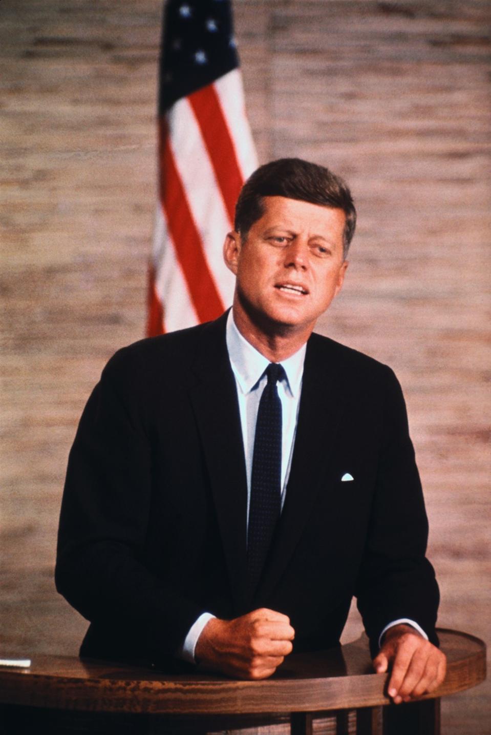 Senator John F. Kennedy Speaking at Podium