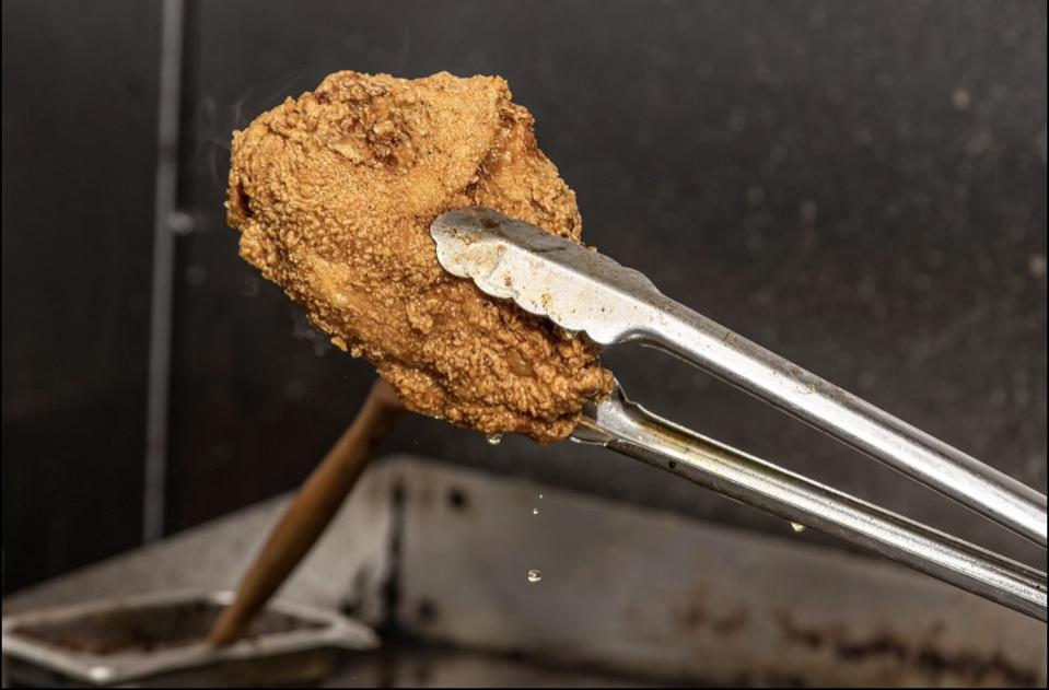 Fried chicken from Chef Reuben ″Big Rube″ Harley.