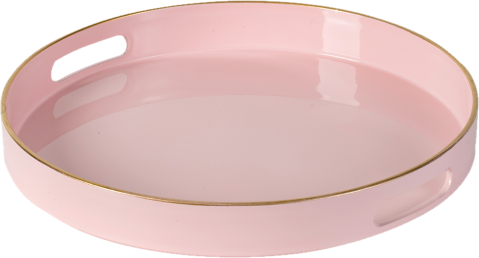 Pink acrylic tray with a gold rim
