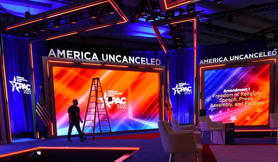 The stage being prepared for the opening of the 2021 CPAC (...
