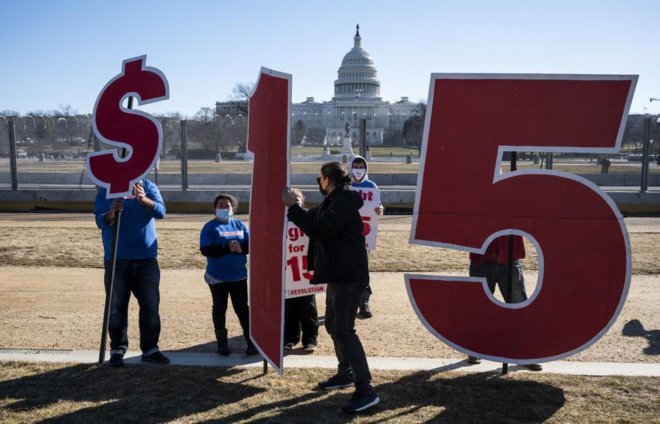 Biden's proposed $15 minimum wage blocked by Senate Republicans and parliamentary rulings.