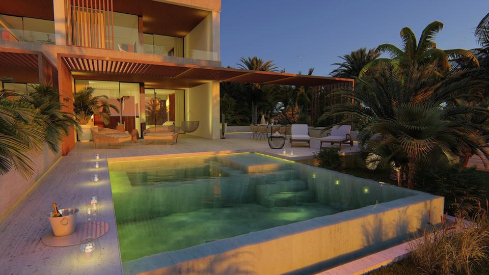 A luxurious beachfront suite at the new Live Aqua Punta Cana features extensive outdoor space and a large plunge pool.