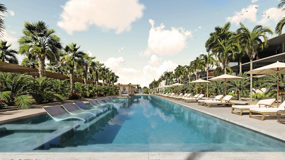 A stunning, palm-fringed pool takes center stage at the new resort and leads to a private beach.