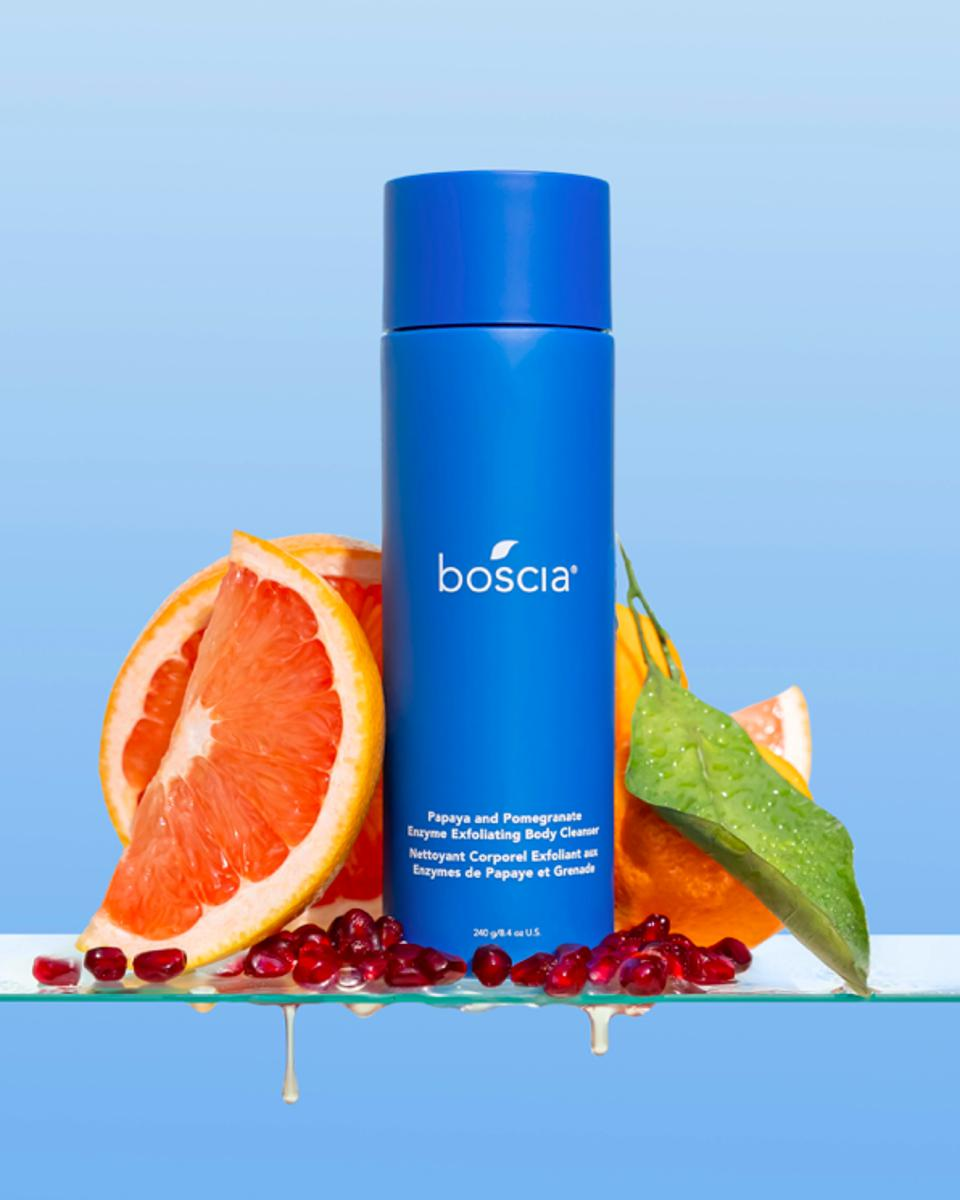 The Papaya and Pomegranate Enzyme Exfoliating Body Cleanser is a potent, resurfacing cleanser targets visible signs of aging and promotes smoother, clearer skin by gently removing the outer layer of dead skin cells