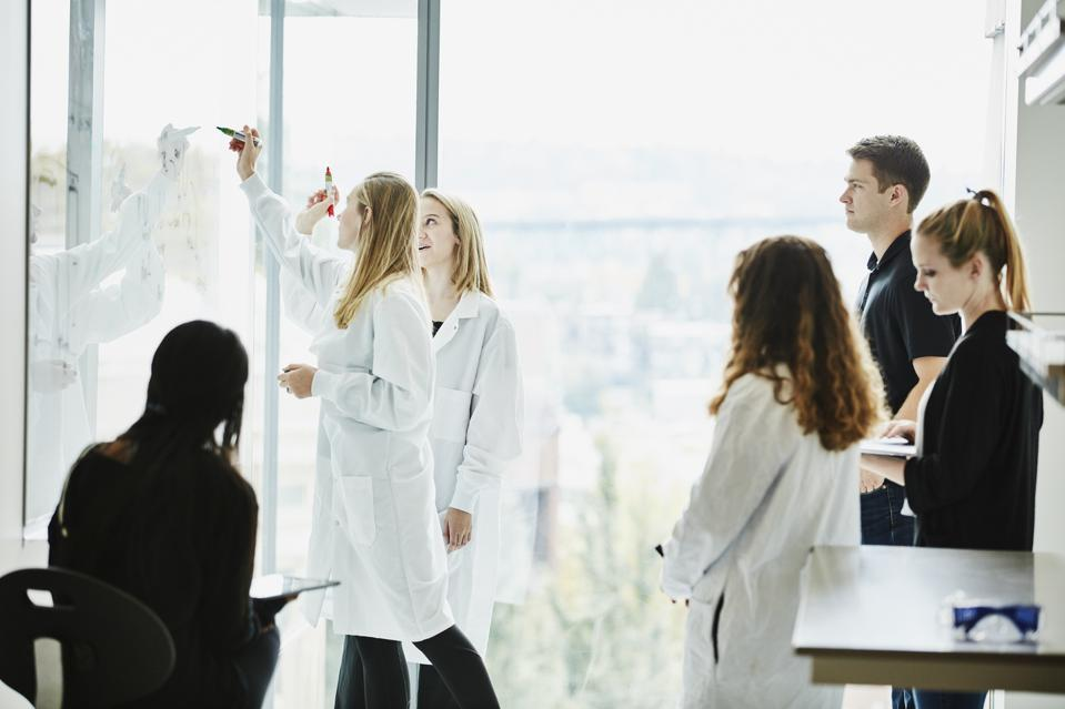 Female scientists writing formula on white board while leading project discussion with colleagues