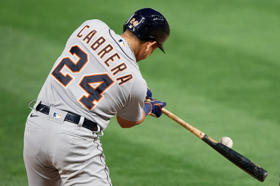 Detroit Tigers right-handed hitter Miguel Cabrera swings at a pitch.