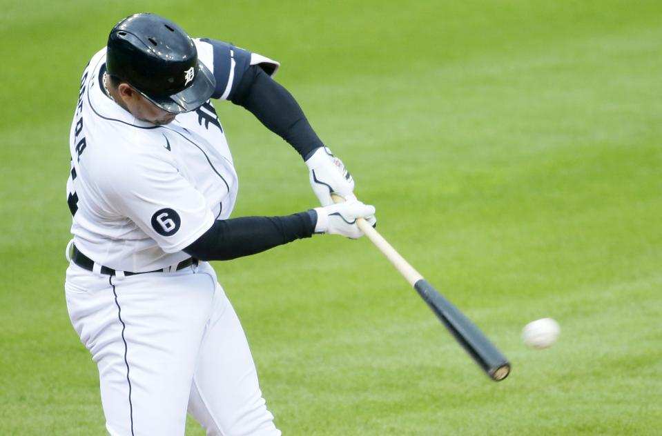 Right-handed hitter Miguel Cabrera swings at a pitch.