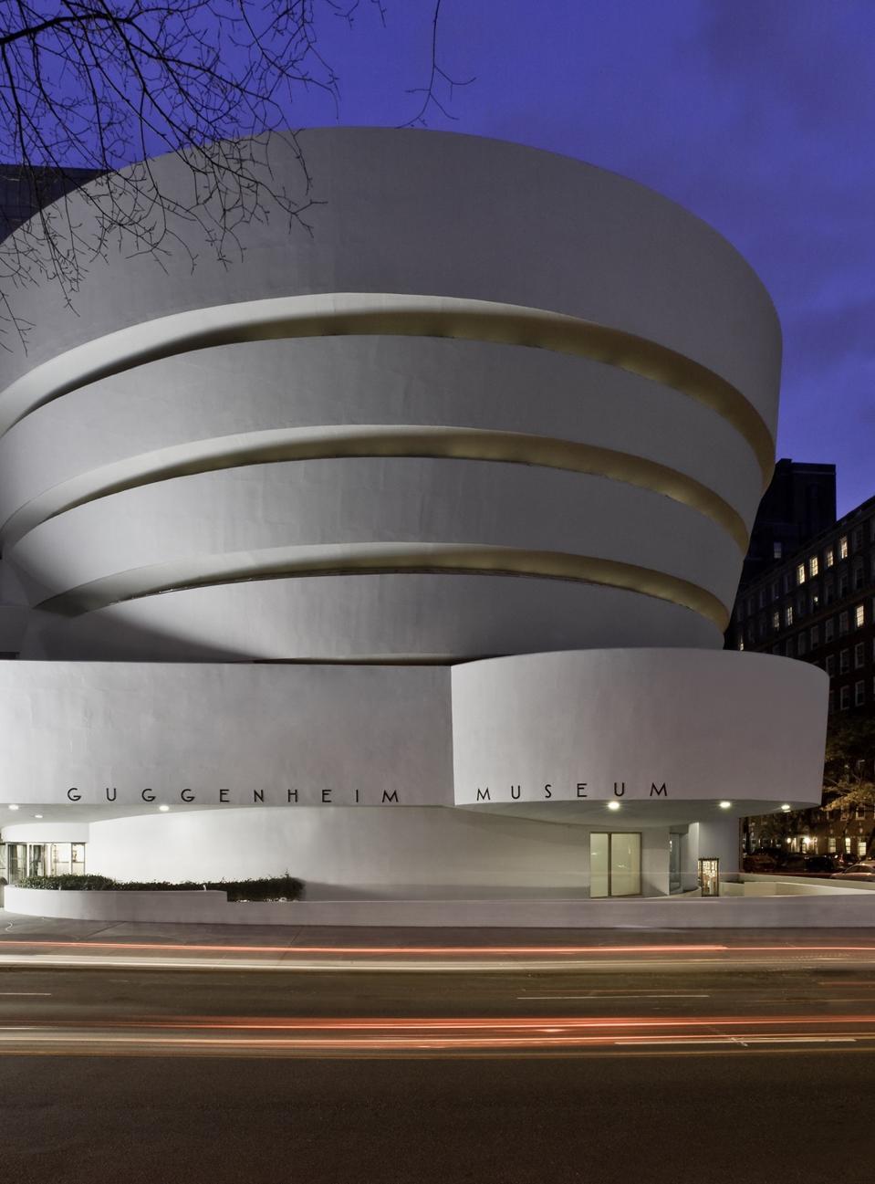 The Solomon R. Guggenheim Museum by Frank Lloyd Wright post-restoration, at dusk