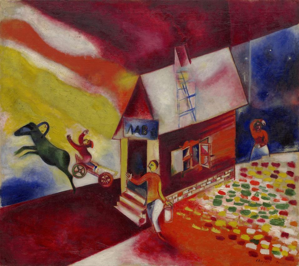 Marc Chagall, The Flying Carriage (La Calèche Volante), 1913, oil on canvas, 42 x 47 1/4 inches, Solomon R. Guggenheim Museum, New York, Solomon R. Guggenheim Founding Collection