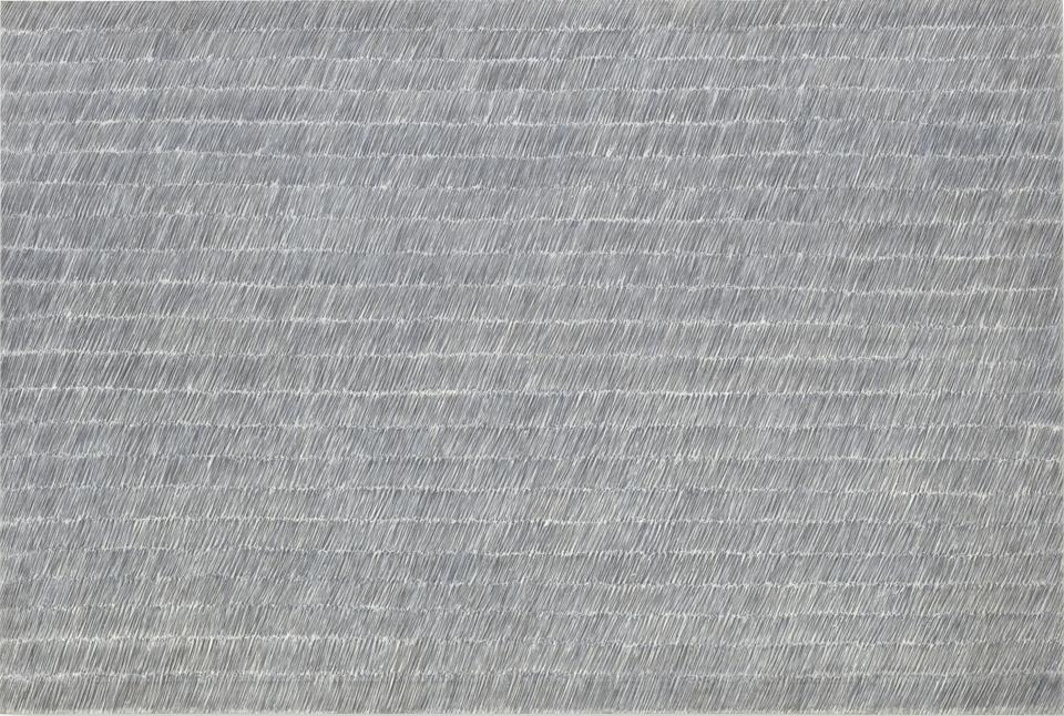 Park Seo-Bo, Ecriture No. 55-73, 1973, graphite and oil on canvas, 195.3 x 290.7 x 3.8 cm, Solomon R. Guggenheim Museum, New York, Gift, the Samsung Foundation of Culture, 2015.50