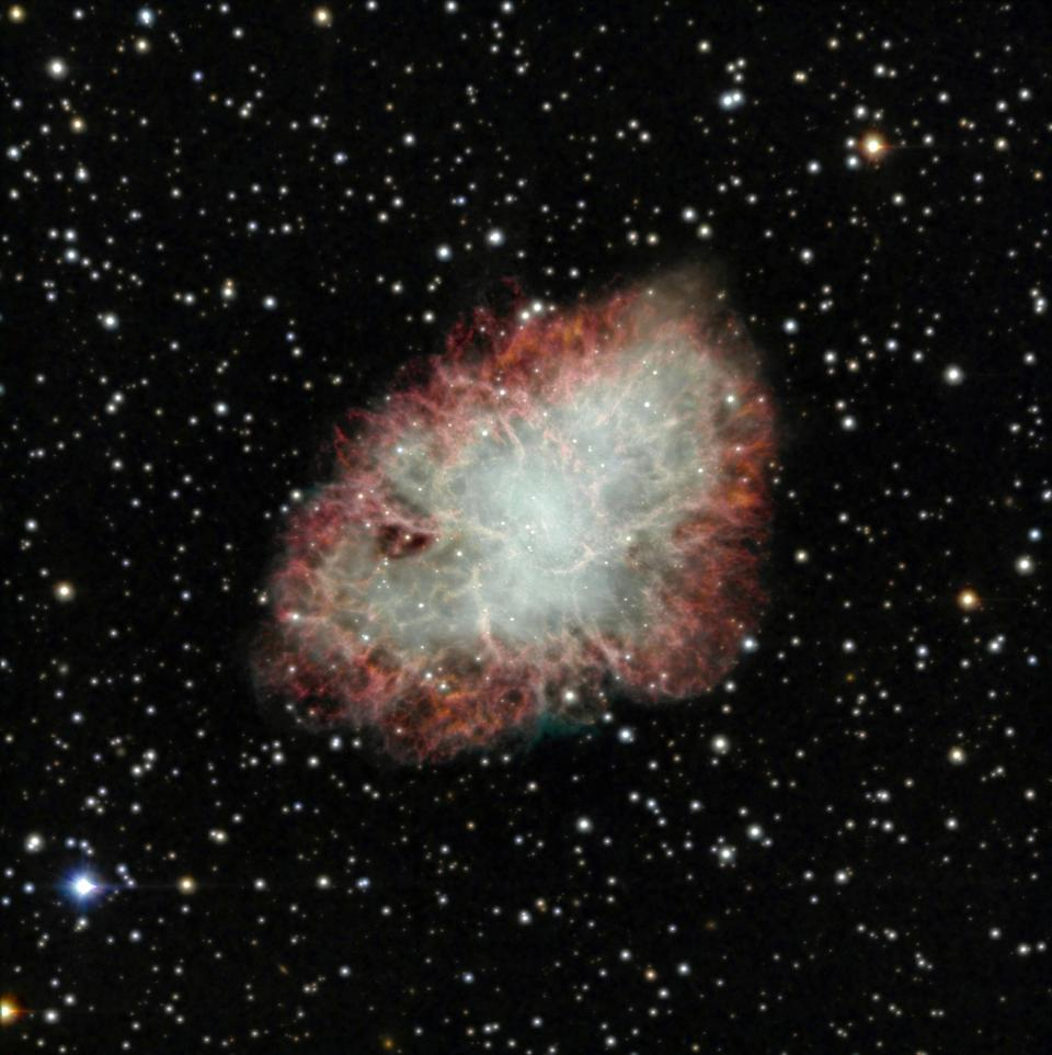 The Crab Nebula, the remnant of a supernova from 1054, is currently 11 light-years across.