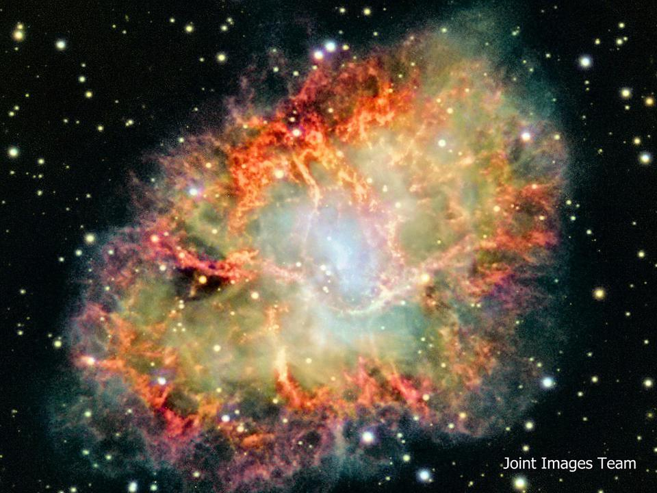 This multiwavelength image showcases many different details in the Crab Nebula.