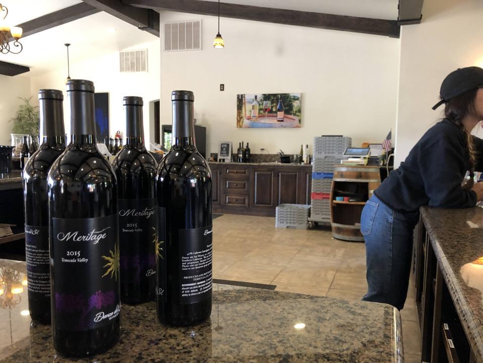 wine bottles in a winery