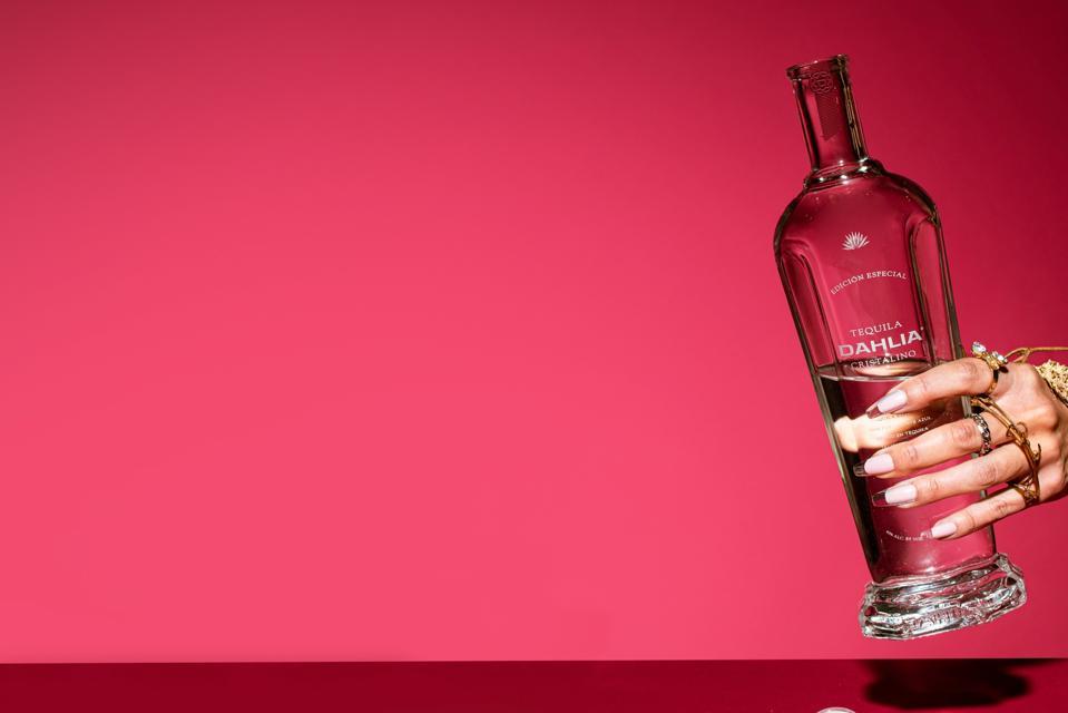 A bottle of Dahlia Cristalino tequila