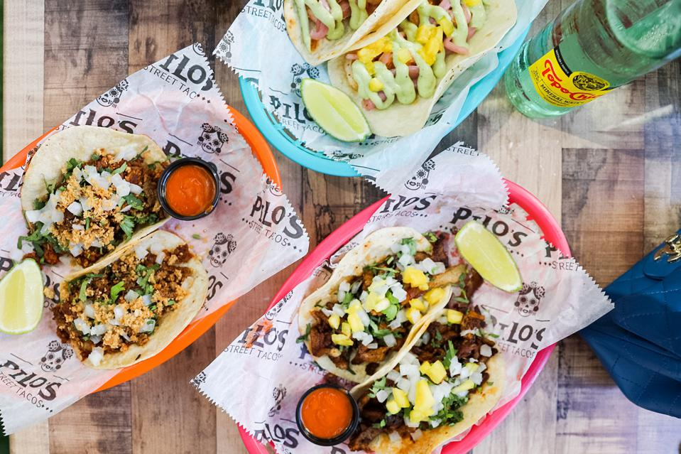 BRICKELL, MIAMI - A selection of tacos from Pilo's Street Tacos in Brickell Miami