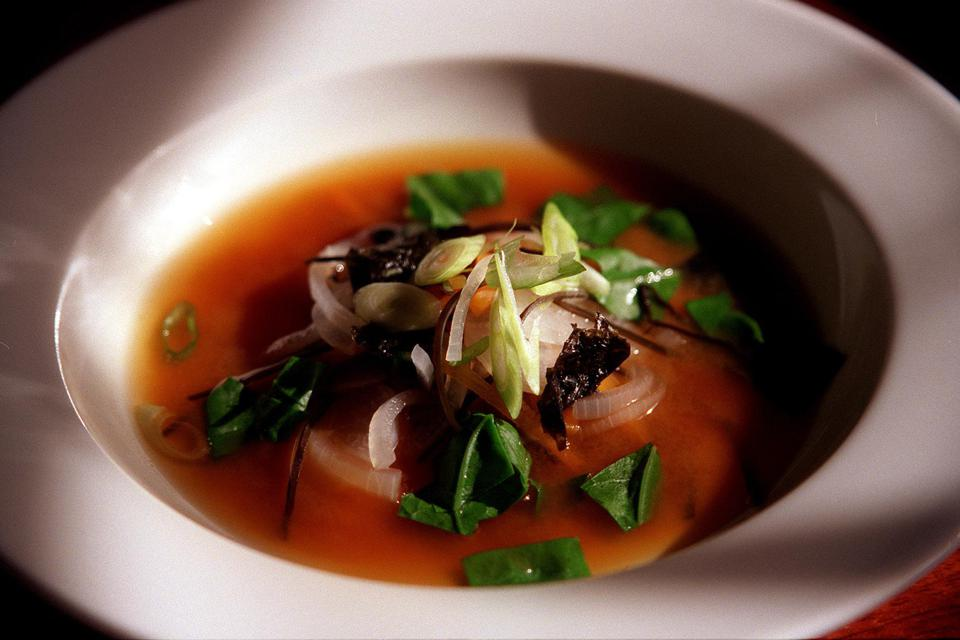 One of the Miranda Sharps' dish - Gingered miso shiro soup made with sea vegetab